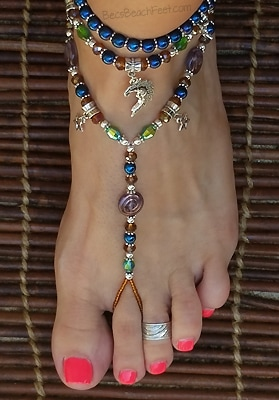 Celestial foot jewelry and anklets with hematite, glass and silver plated beads