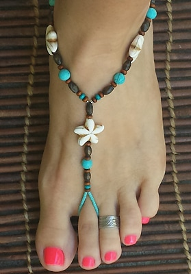 Foot jewelry Nautical Flowers with turquoise and wood beads