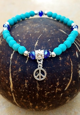 Howlite Turquoise Bracelet with Peace Charm