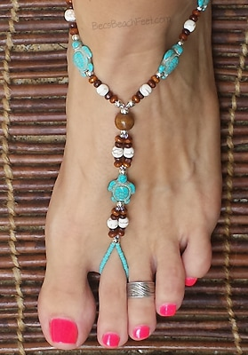 Sea turtles foot jewelry with turquoise, blue-green beads