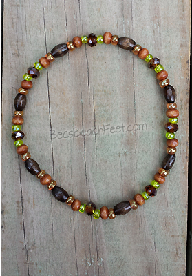 Wood and Glass Stacker Anklet