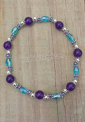 Amethyst ankle bracelet opalite, glass and silver plated beads