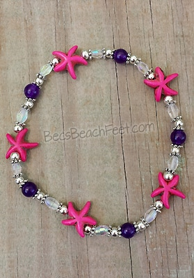 anklet crafted with pink magnesite starfish