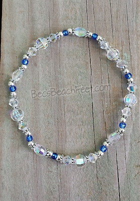 Wedding anklet with genuine aurora borealis crystals, glass and silver plated beads.