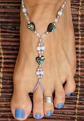 Gorgeous barefoot jewelry with abalone hearts are joined with moonstone, glass and silver plated beads
