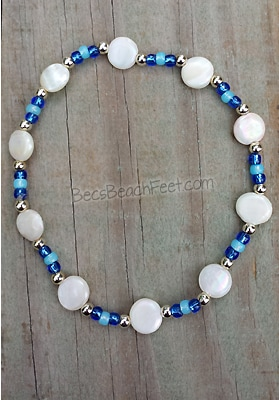 Blue Oyster Stacker Anklet