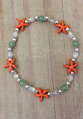 Aventurine and starfish anklet