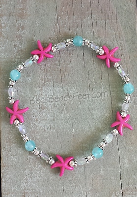 Anklet with bright pink, howlite starfish surrounded by Mashan jade