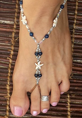 White starfish barefoot sandals beach wedding jewelry.