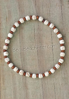 bohemian gypsy style anklet with white howlite and wood beads.