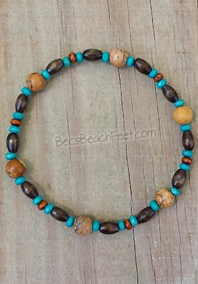 Anklet with picture jasper and wood beads.
