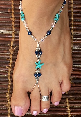 Turquoise Starfish Barefoot Sandals for Weddings & Honeymoons.