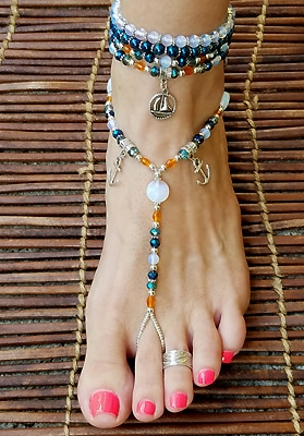 Foot jewelry with sail boat charms