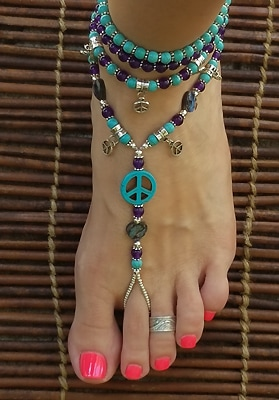 Hippie foot jewelry with peace symbols, howlite turquoise, amethyst, paua abalone hearts and silver beads