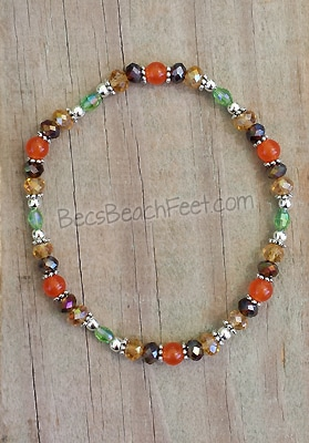 Stacker anklet with South African orange topaz, glass and silver plated beads.