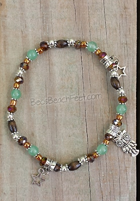 Anklet with owl charm, green aventurine and fluorite beads
