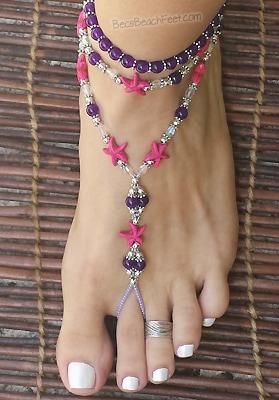 Foot jewelry with pink magnesite starfish along with genuine amethyst, glass and silver plated beads